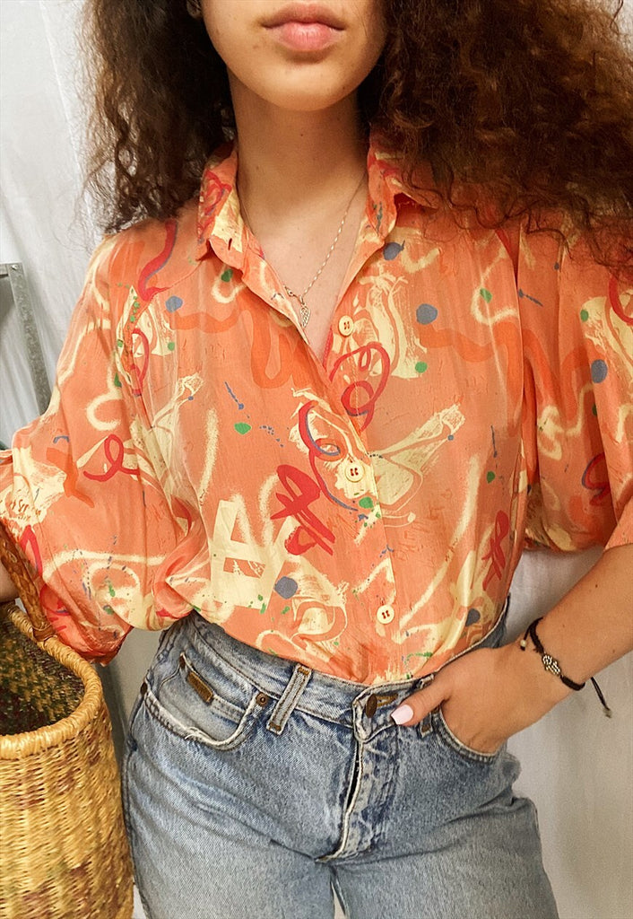 Vintage 80s Abstract print Peachy Boheme blouse top