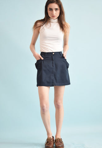 90's retro denim military style navy blue mini skirt