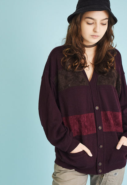 90's retro oversized velvet detailed knit cardigan