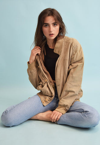 90's retro neutral genuine suede oversized jacket top