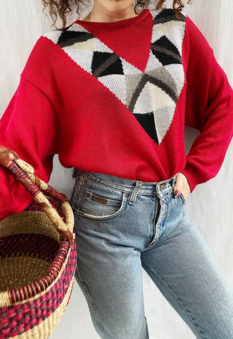 Vintage 80s Abstract pattern knit oversized jumper sweater