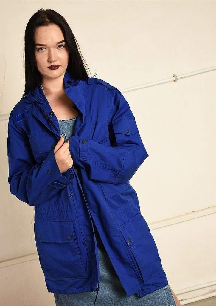 Vintage 90s retro workwear long parka jacket in blue