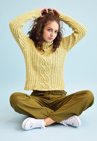 90's retro jazzy knit pastel roll neck jumper top
