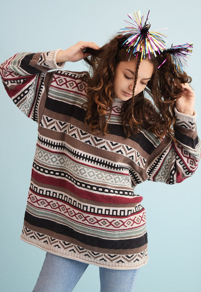 90's retro Fair Isle oversized knit Christmas jumper