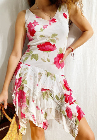 Vintage 90s Floral Botanica printed draped midi day dress