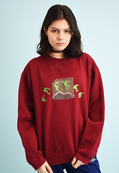 90's retro athleisure sports maroon sweatshirt jumper