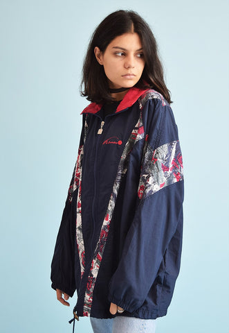 90's retro athleisure sports windbreaker shell parka jacket