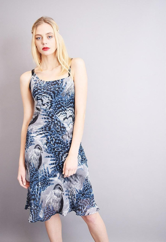 90's retro bird & feather printed mesh evening party dress