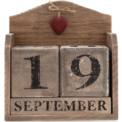 Red heart driftwood calendar