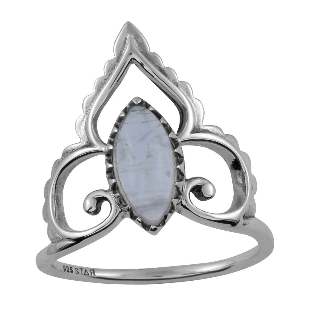 Star of India Rainbow Moonstone Ring