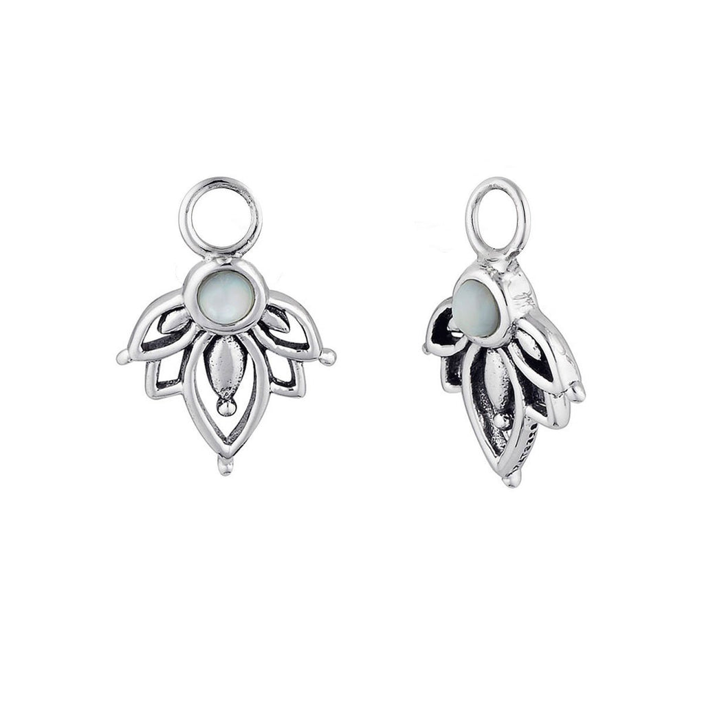 Silver Lotus Pearl Charms