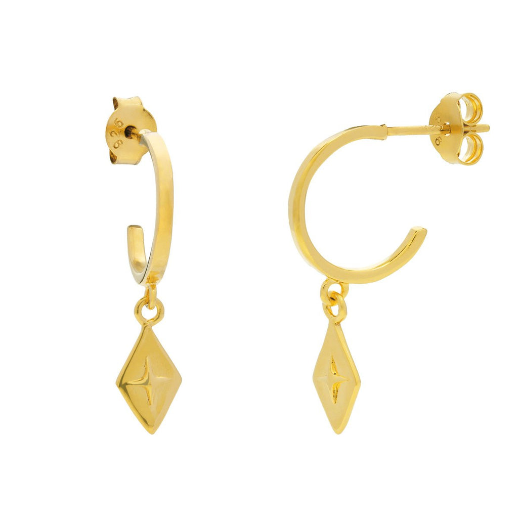 Golden Celestial Diamond Hoops