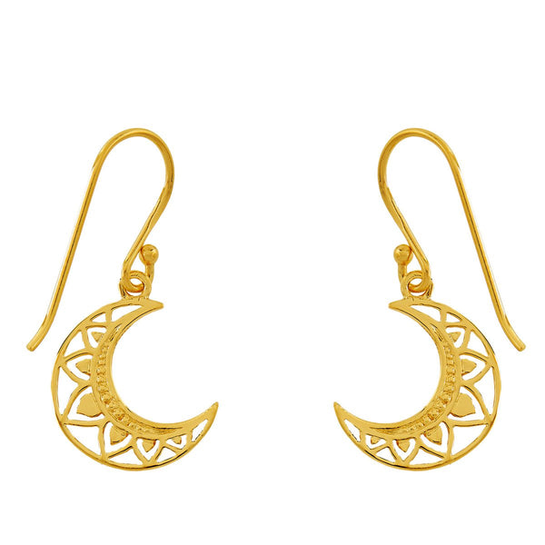 Golden Mandala Moon Earrings