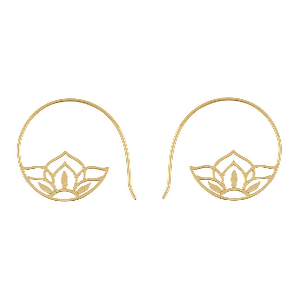 Gold Sacred Lotus Hoops