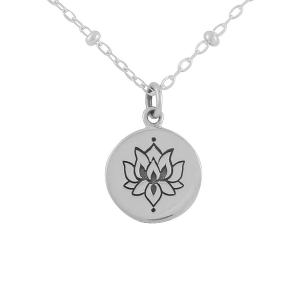 White Lotus Medallion Necklace