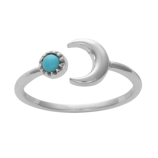 Crescent Moon Turquoise Ring