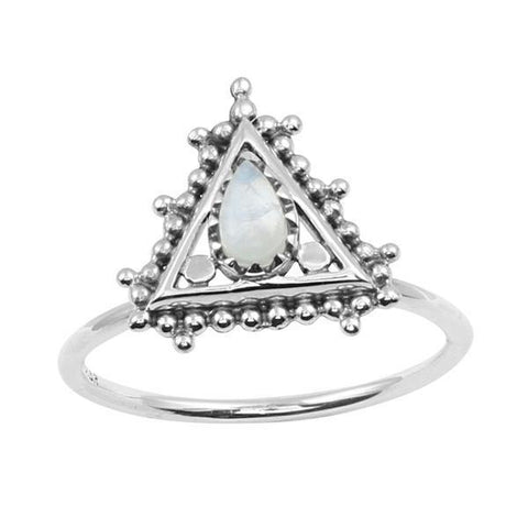 Ziggurat Rainbow Moonstone Ring