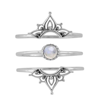 Wanderlust Moonstone Ring Set