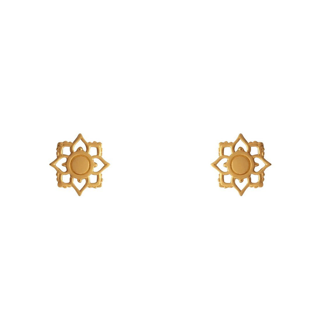 Gold Mandala Flower Studs