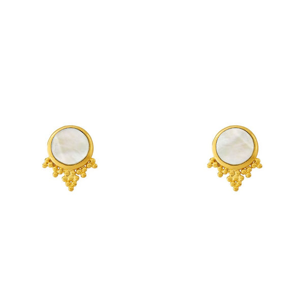 Golden Mystic Mirror Shell Studs