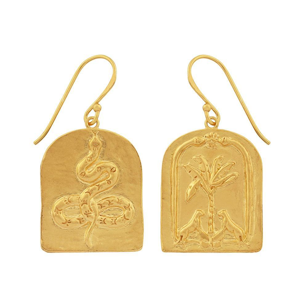 Golden Face Yourself or Run Earrings