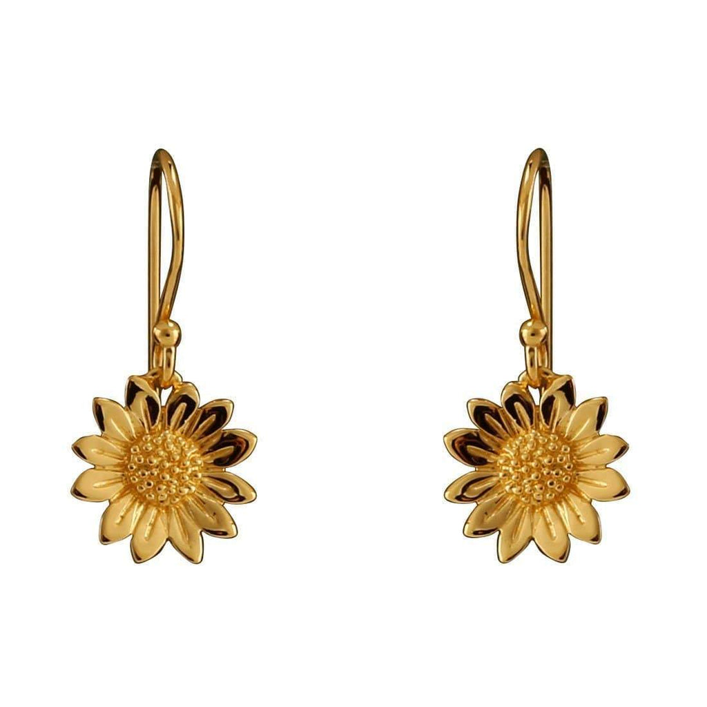 Gold Blossoming Sunflower Earrings