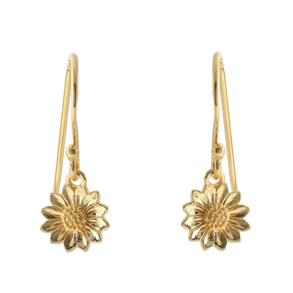 Gold Petite Sunflower Earrings