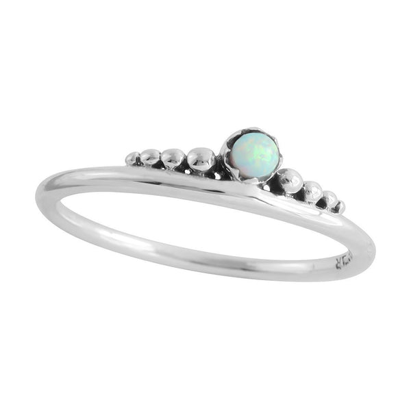 Delicate Crown Opal Ring