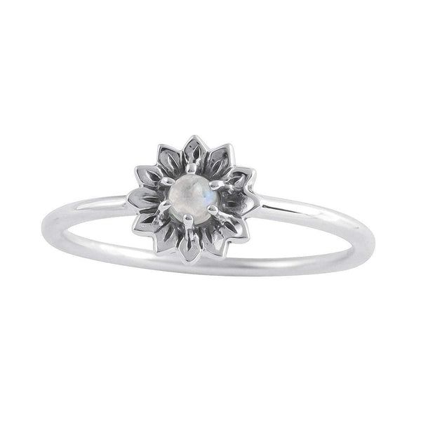 Delicate Sunflower Moonstone Ring