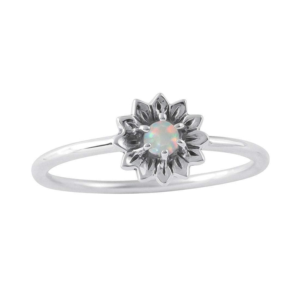 Delicate Sunflower Opal Ring