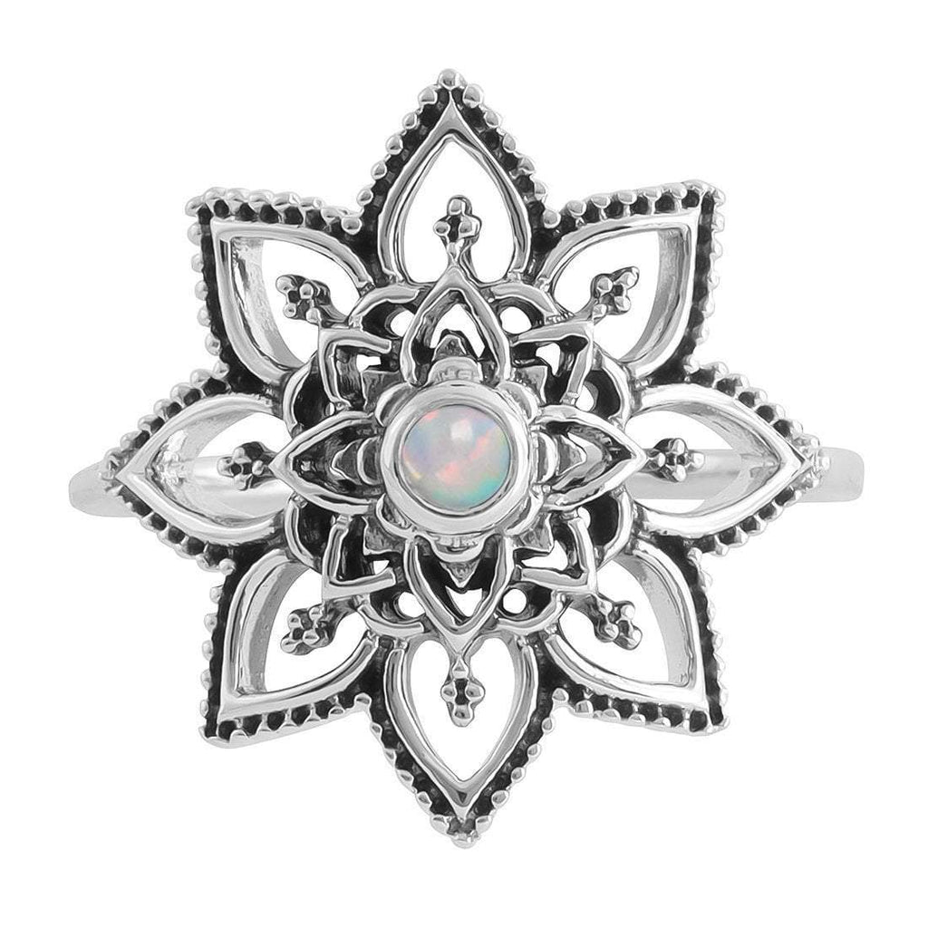 Mandala Flower Opal Ring