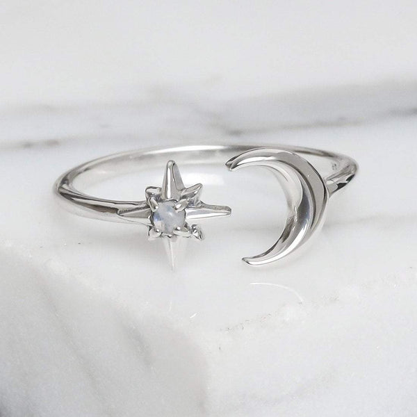 Nebula Dreams Moonstone Adjustable Ring