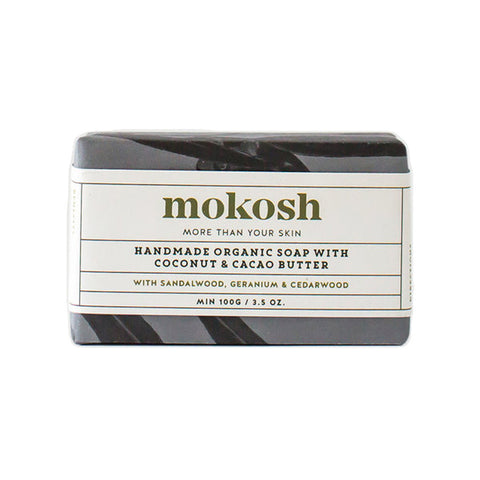 Mokosh Handmade Organic Soap with Coconut & Cacao Butter - Sandalwood with Geranium & Cedarwood