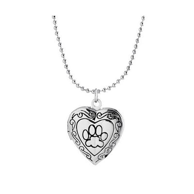 DoggyMarket Silver Plated Dog Paw Heart Necklace