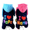 DoggyMarket I Love Mama/Papa Dog Hoodie Sweater