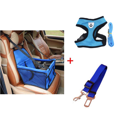 The Ultimate Safety Dog Car Package - Booster + Seat Belt + Leash + Harness