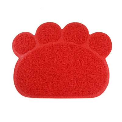 DoggyMarket Red Paw Feeding Mat Pad