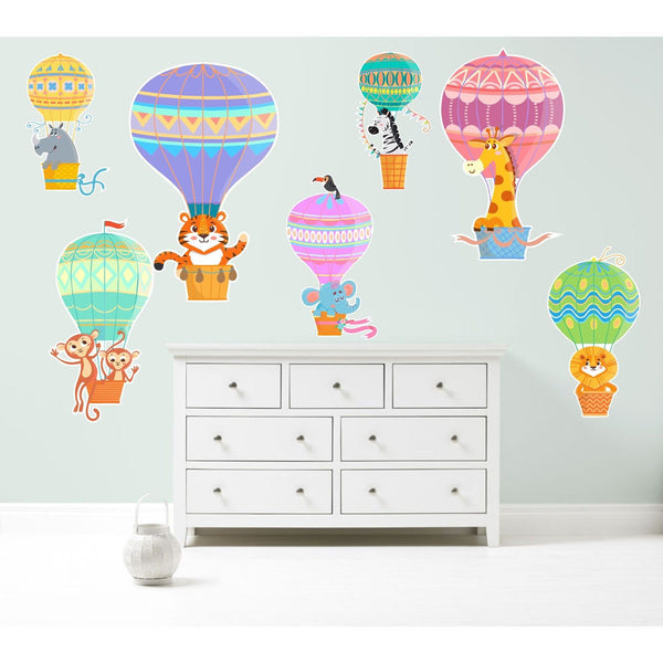 Hot Air Balloons Zoo Animals Wall Art Sticker Kit Decal