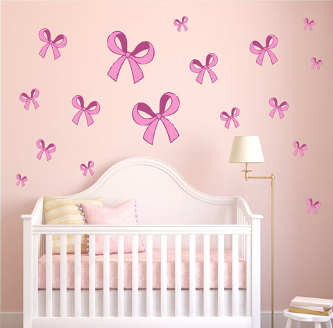 Pink Bows Pretty Girly Bedroom Princess Wall Art Sticker Kit Decal Cute Nursery