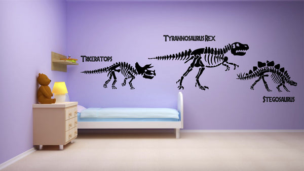 Dinosaurs Skeletons Wall Art Sticker Kit Decal Graphic Boy's Bedroom