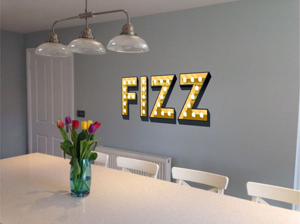 FIZZ ILLUMINATED LIGHT UP EFFECT LETTERS WALL STICKERS DECAL prosecco chamapagne wine