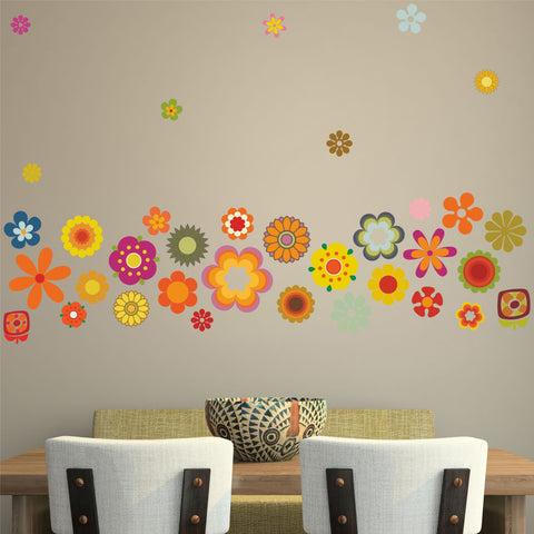 Retro Flowers Wall Sticker Pack Vintage Floral