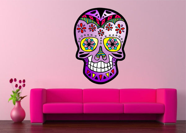 Mexican Sugar Skull Tattoo Design Pink Calavera vinyl wall sticker decal 5 sizes