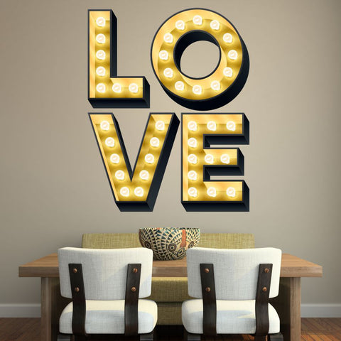 LOVE ILLUMINATED LIGHT UP EFFECT LETTERS WALL STICKERS DECAL