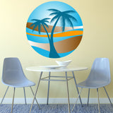 PALM TREE SUNSET wall sticker holiday paradise beach tropical retro