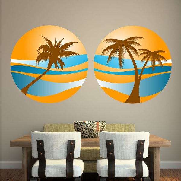 PALM TREE SUNSET 2 PACK WALL STICKER HOLIDAY PARADISE BEACH TROPICAL RETRO