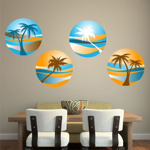 PALM TREE SUNSET 4 PACK WALL STICKER HOLIDAY PARADISE BEACH TROPICAL RETRO