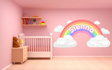 Personalised Pastel Rainbow and Clouds children's bedroom nursery decal wall sticker