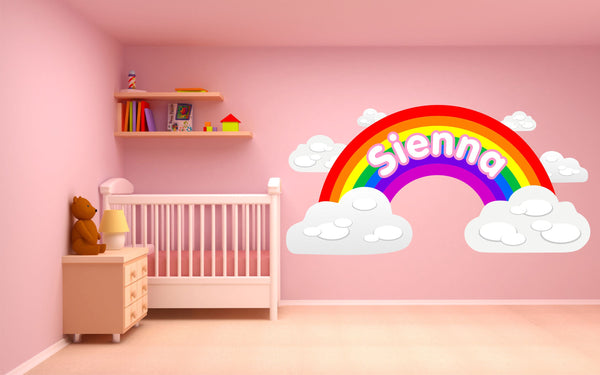 Personalised Rainbow and Clouds children's bedroom nursery decal wall sticker