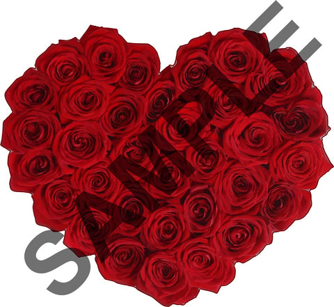 Red Rose Heart Rustic Wall Sticker Art